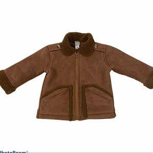 Childrens Little Me Teddy Coat Size 2 Brown Fur